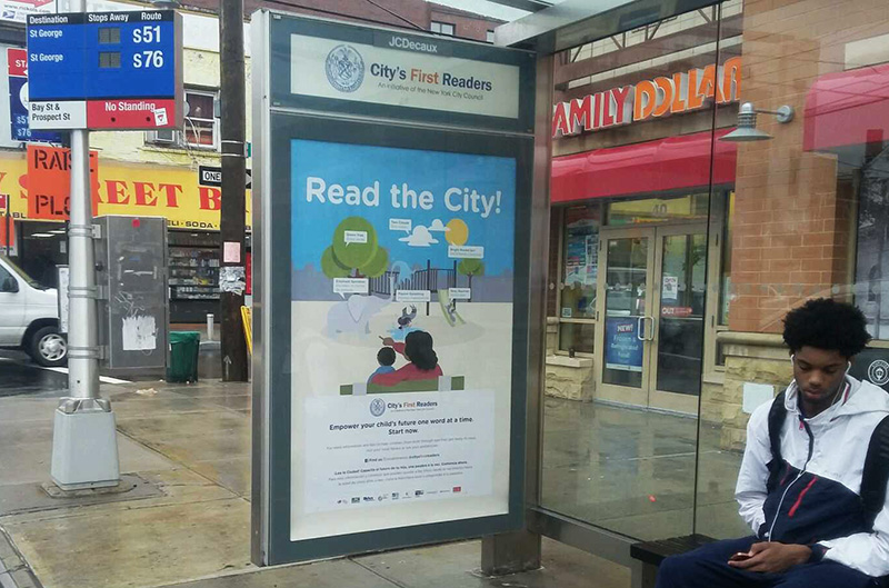 Read the City poster in a Staten Island bus shelter