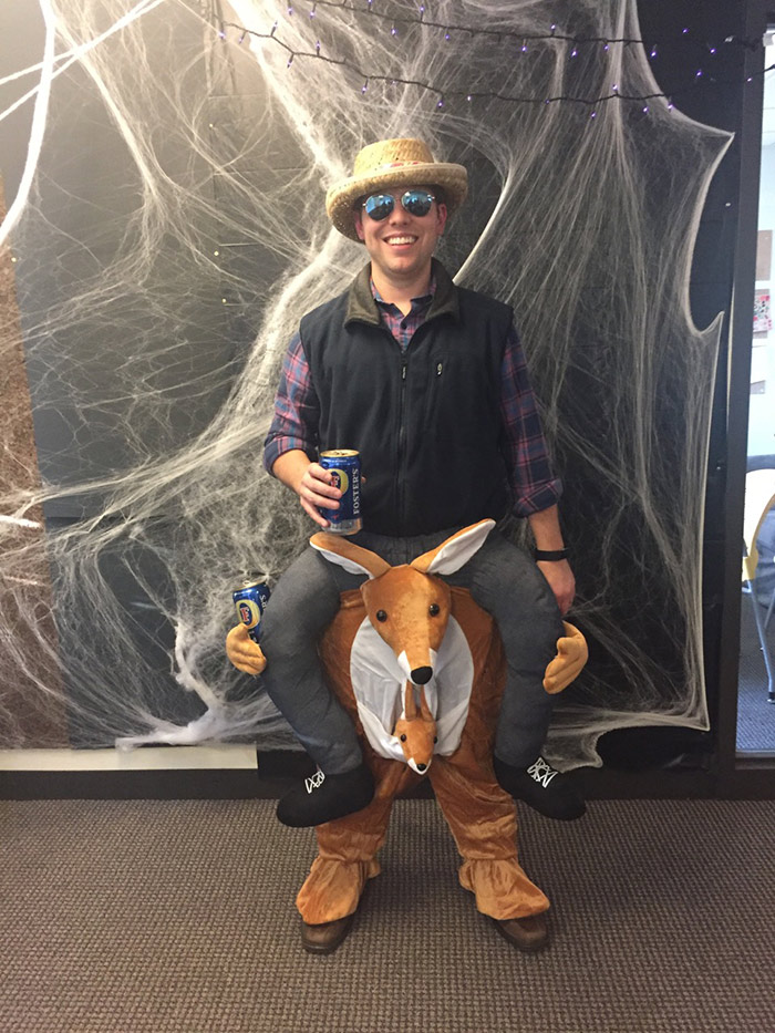 Tom riding a kangaroo