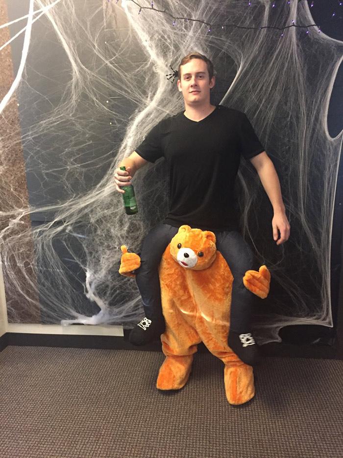 Spencer riding a bear