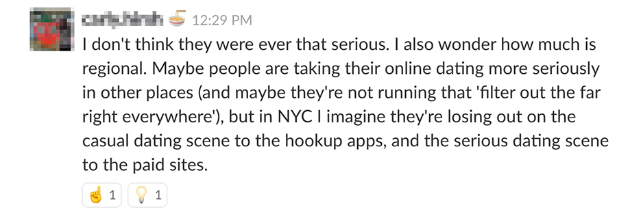 I don't think they were ever that serious. I also wonder how much is regional. Maybe people are taking their online dating more seriously in other places (and maybe they're not running that 'filter out the far right' everywhere) but in NYC I imagine they're losing out on the casual dating scene to the hookup apps, and the serious dating scene to the paid sites