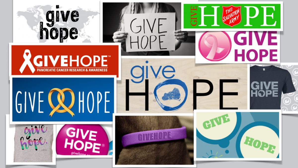 A collage of ten organizations using the same message: give hope