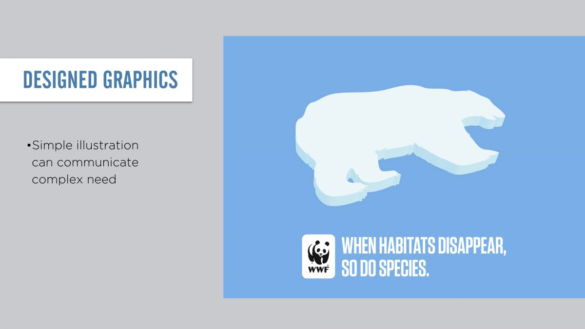 Or use designed graphics. Simple illustration can communicate complex need.