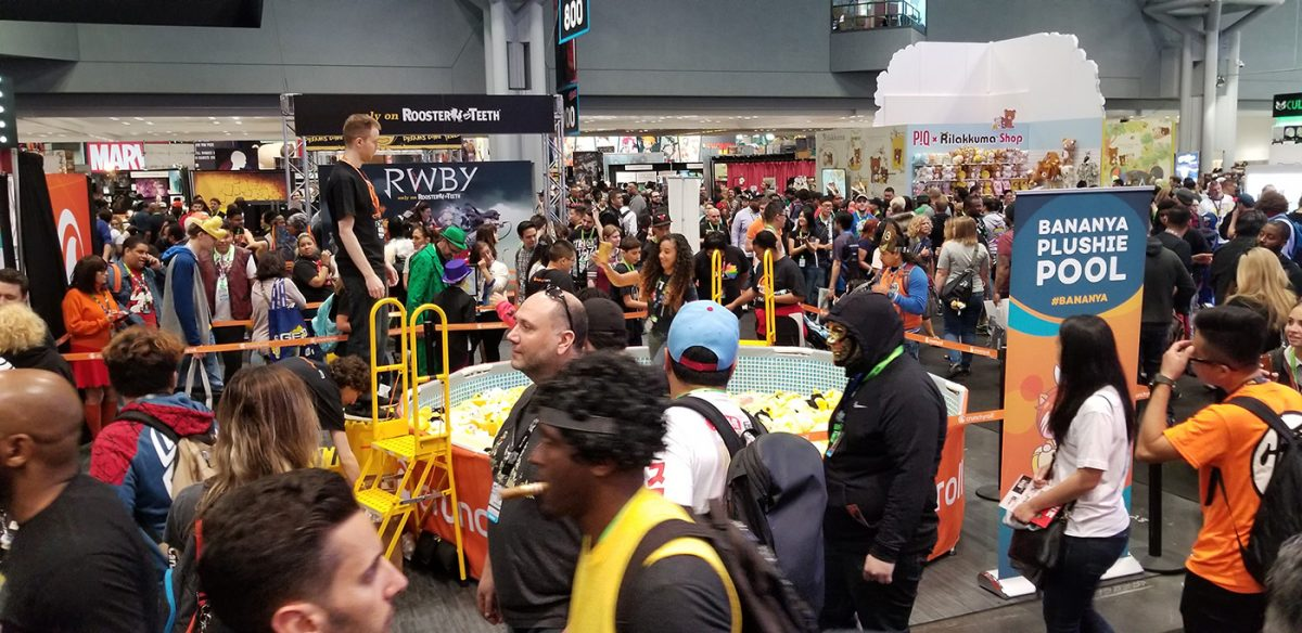 A swimming pool of plushies at Comic Con