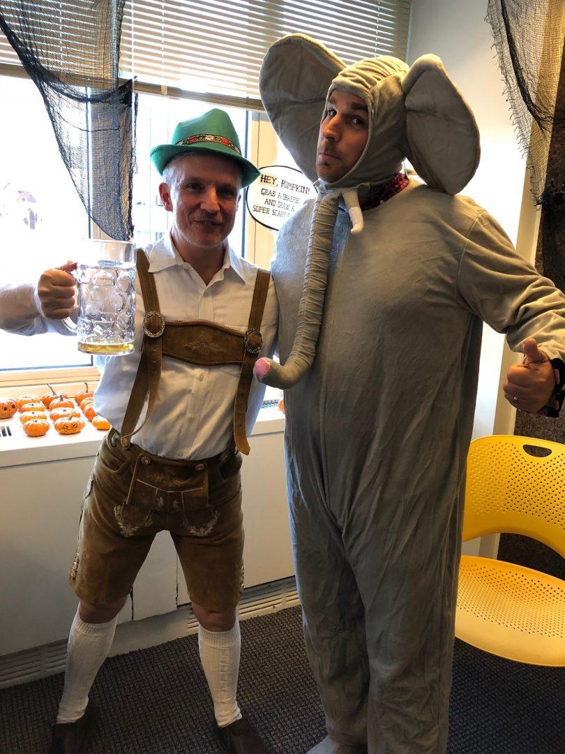 Russell in lederhosen and Carmine dressed as an elephant