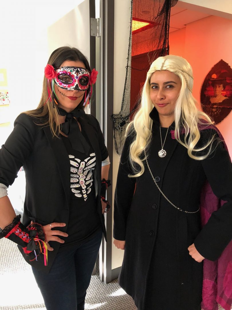 Maryah as a day of the dead skull and Nesara as Khalissi