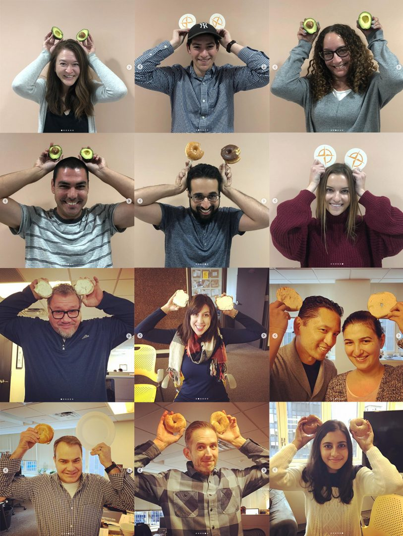 True North employees holding bagels up to look like mickey ears