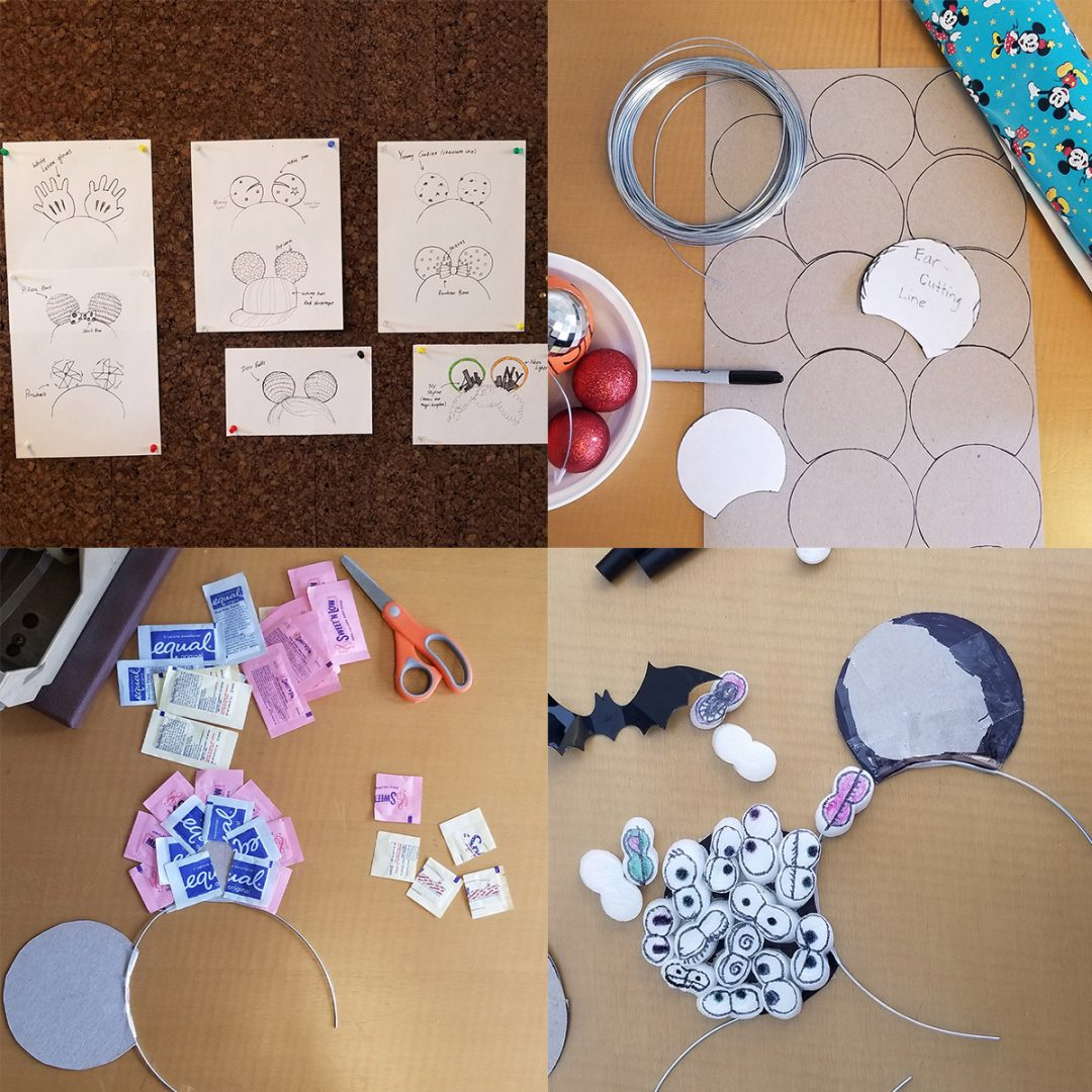 A collage of craft projects making Mickey ears out of cardboard