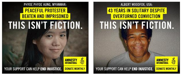 Two Amnesty International banner ads