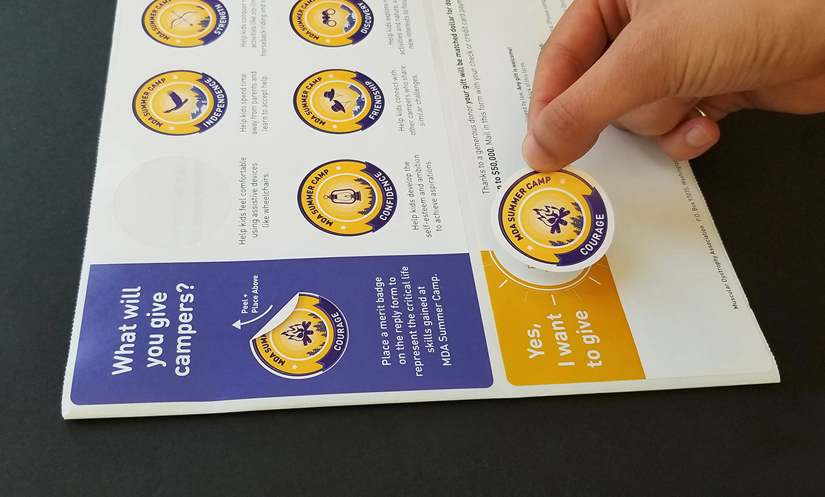 Sticker sheet inside direct mail