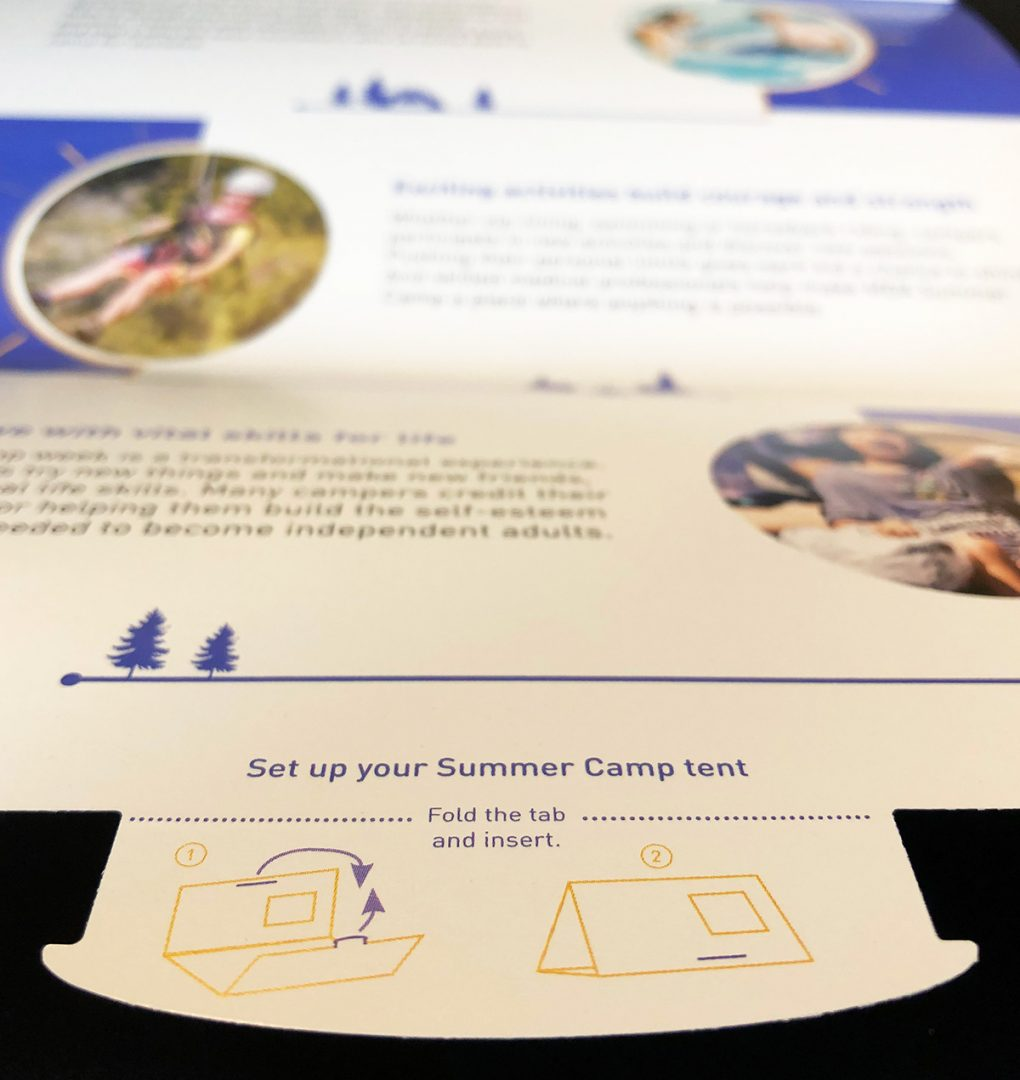 Close up of directions for folding mail into a camping tent
