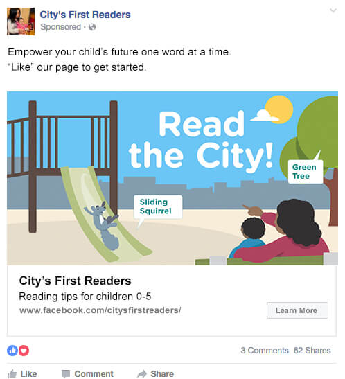 Read the city Facebook ad