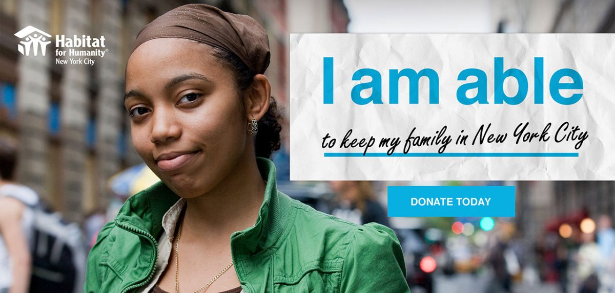 Concept board of the Habitat NYC using the campaign line 'I am able to keep my family in New York City'