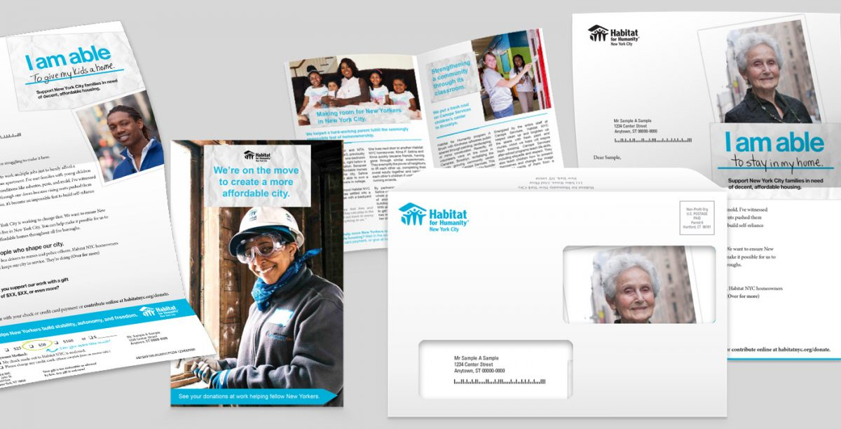 An example of direct mail using the 'I am able' campaign line showing the envelope and inside materials sent to donors