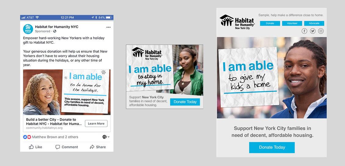Examples of banner ads, facebook ads, and email using the 'I am able' campaign line