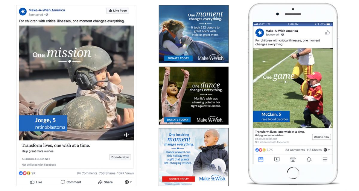 Examples of ads with the 'one moment' concept including facebook and banner ads