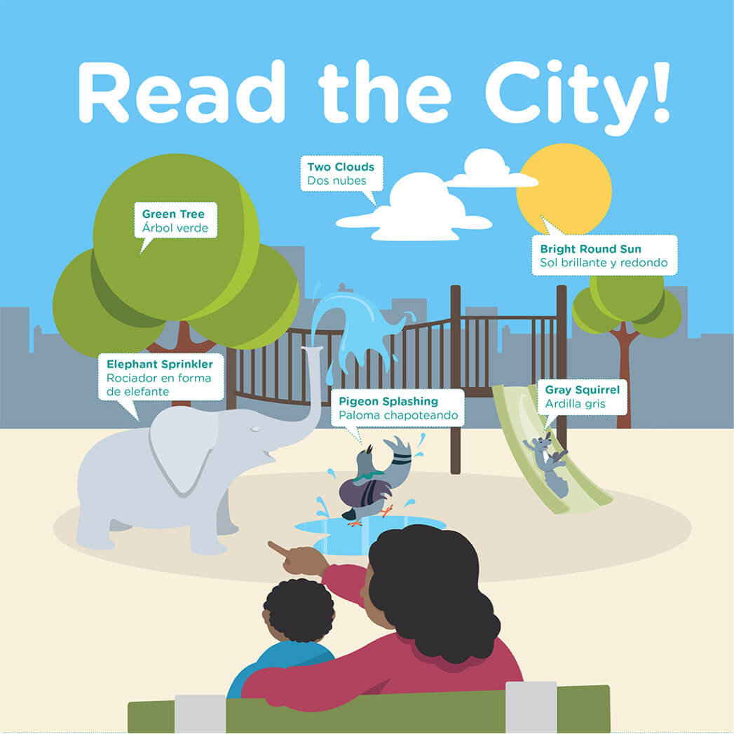 Read the City campaign creative where a mom points out objects in the playground to a child