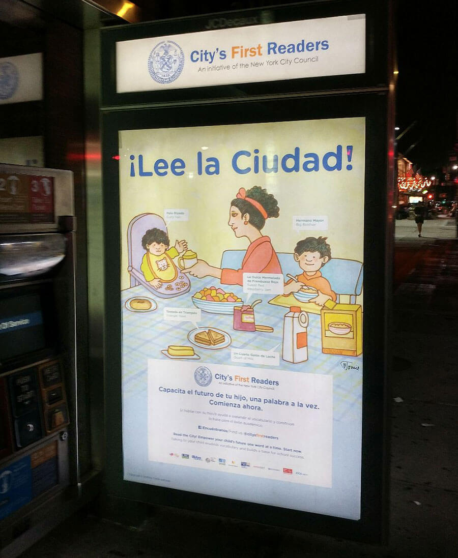 Bus shelter ad using Tomie dePaola  art