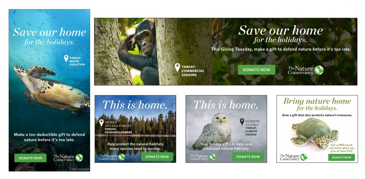 Several banner ads showing different animals and their habitats with the concept 'Save our Home'