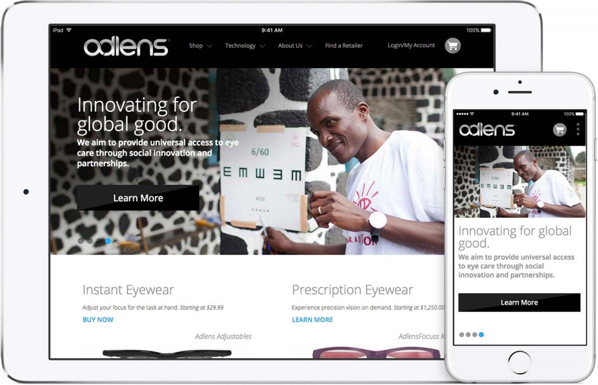 Adlens wesite on iPad and iPhone