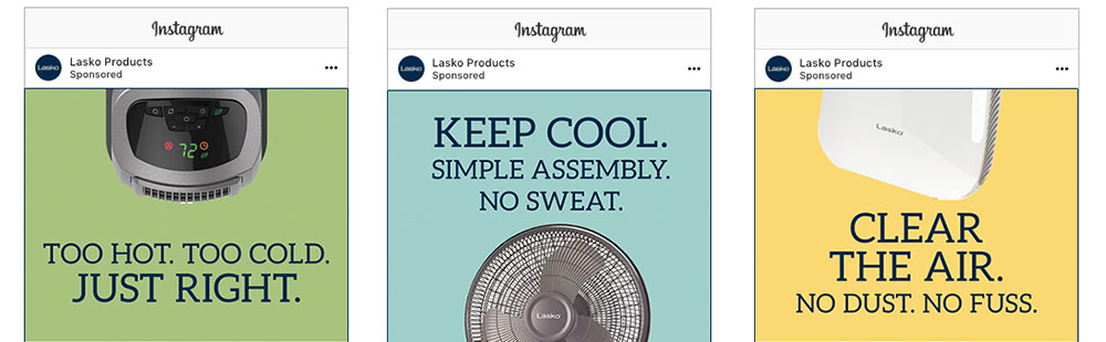 Three instagram ads for Lasko products